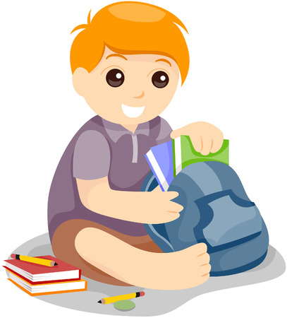 prepare: Child preparing school bag with Clipping Path