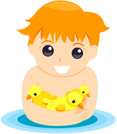 bath time: Child with Rubber Ducks with Clipping Path Illustration