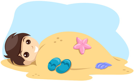 Kid covered in sand with Clipping Path Vector