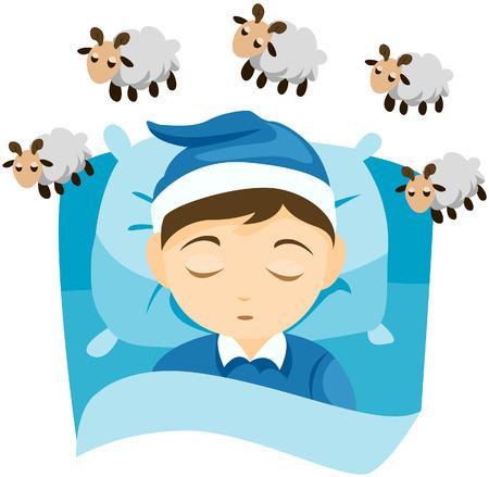 Kid Sleeping / Trying to Sleep (Counting Sheep) with Path Stock Vector - 5057024