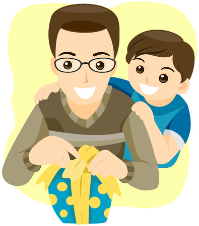 Boy giving Gift to his Father with Clipping Path