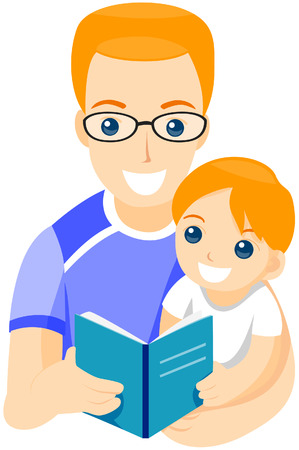 storytelling: Father Reading Book to Son with Path