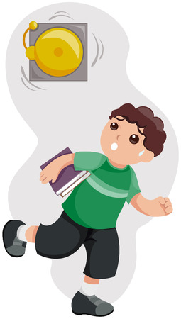 Kid Late for School with Path Vector