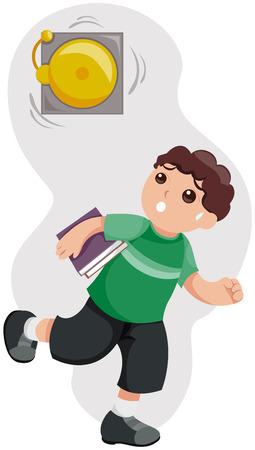 Kid tarde a la escuela con trazado de recorte