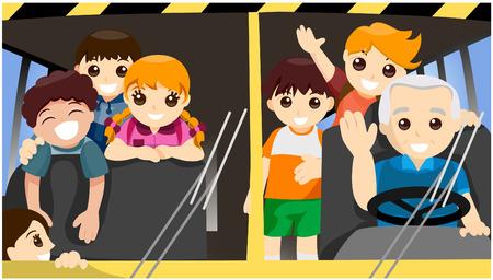kid vector: Ni�os en la Escuela de autobuses