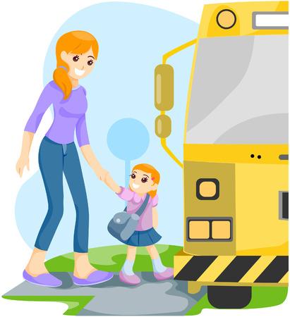 fermata bus: Madre e figlia alla fermata con Clipping Path Vettoriali