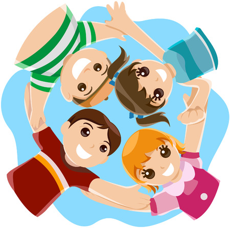 ниже: Children (angle from below) with Clipping Path Иллюстрация