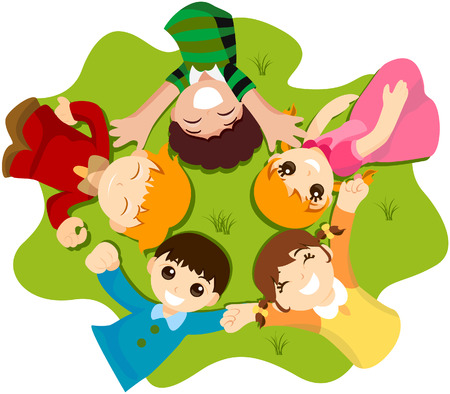Kids lying on Grass with Clipping Path Illustration