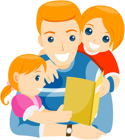 Father Reading to his Children with Path Stock Vector - 5057017