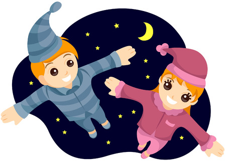 Flying Kids in PJs with Clipping Path Vector