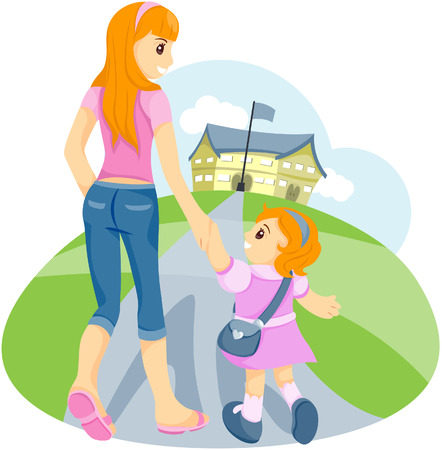 walking path: Sister walking sibling to School with Clipping Path