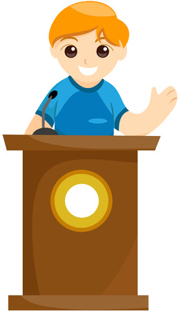 council: Kid Delivering Speech with Clipping Path