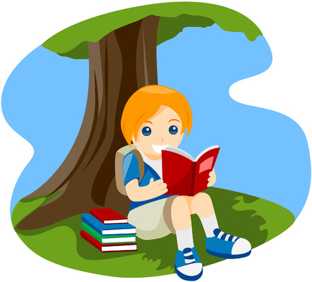 Child Reading a Book Under the Treewith Clipping Path Vector