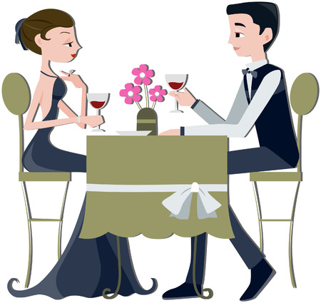 Couple on Date with Clipping path Stock Vector - 5092978