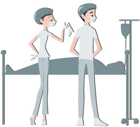 operating room: M�dico y de enfermer�a con Recorte camino