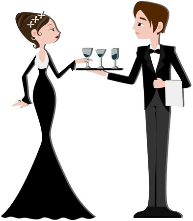 paths: Formal Waiter with Clipping path Illustration