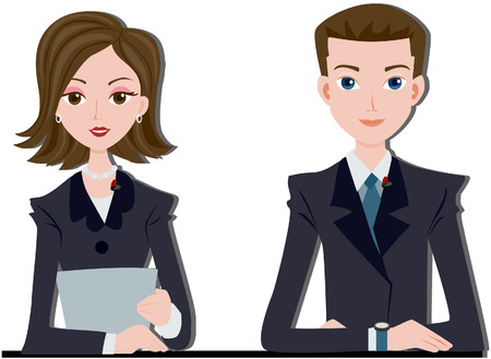 news reporter: News Anchors with Clipping path