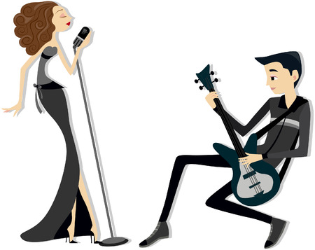 performers: Performers with Clipping path Illustration