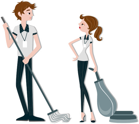 vacuuming: Cleaners Illustration