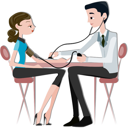doctor and patient: Physician taking BP Illustration