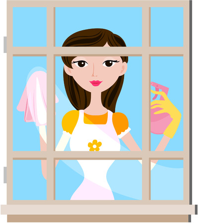 cleaning windows: Girl Cleaning Window with clipping path