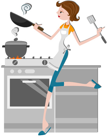 path: Girl Cooking with clipping path