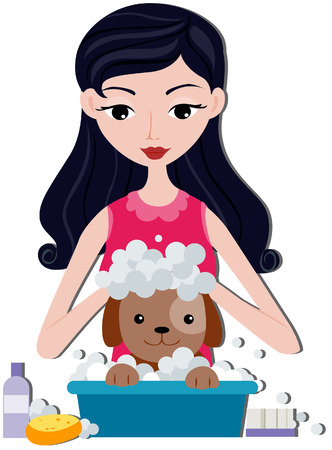 shampooing: Girl Bathing Dog with clipping path Illustration