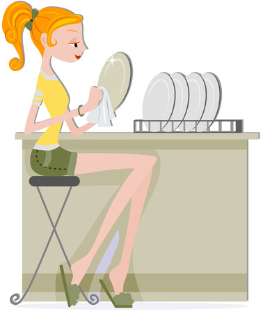 dry: Girl Drying Plates with clipping path Illustration