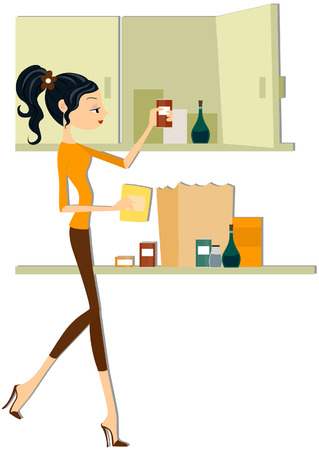 food storage: Girl Stocking Food with clipping path