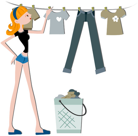 Girl Hanging Clothes To Dry with clipping path Stock Vector - 5168792