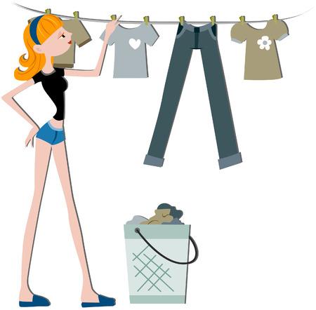 Mädchen hängende Kleidung zu trockenen with Clipping path