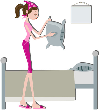 routines: Girl Making Bed with clipping path