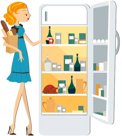 routines: Girl Stocking the Fridge with clipping path