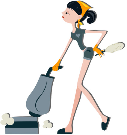 vacuuming: Woman Vacuuming with clipping path Illustration