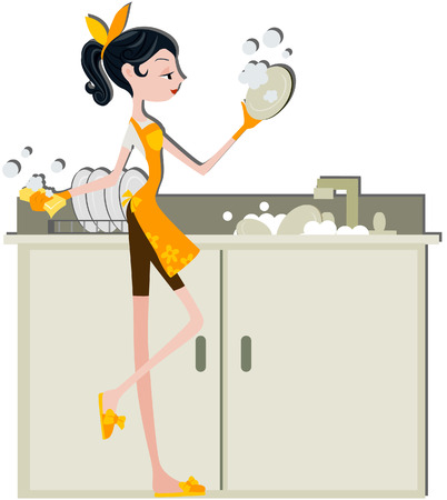 washing dishes: Woman Washing Dishes with clipping path