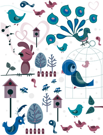 Bird Doodles with path Vector