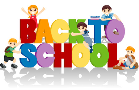 clipping: Back to School with clipping path Illustration