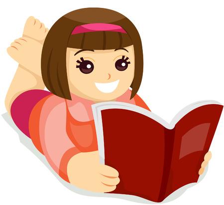 Kid de lire un livre avec un tracé de détourage