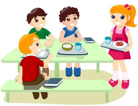 lunchen: Kinderen tijdens Lunchpauze tijd met uitknippad