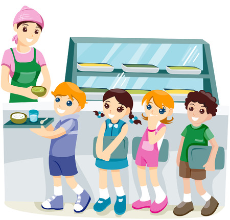 Kids at the Canteen with clipping path Vector