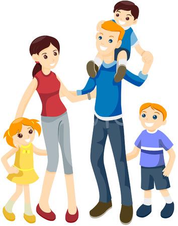 completato: Happy Family con percorso di clipping Vettoriali
