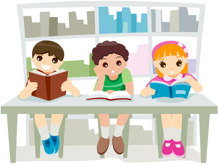 Kids at the Library with clipping path Vector