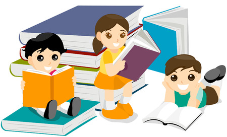 Kids Reading Books with clipping path Vector