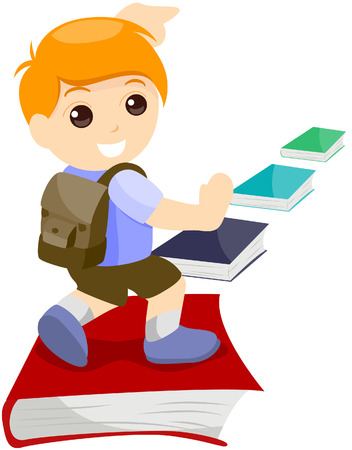 Kid Going to School with clipping path Vector