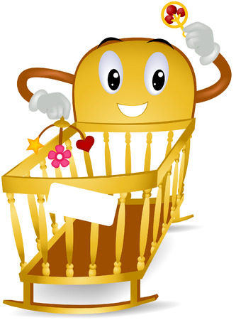 Baby Crib with clipping path Vector