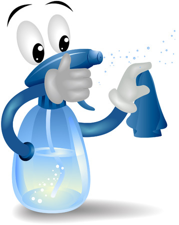 Spray de limpieza con la botella de recorte camino Ilustración de vector