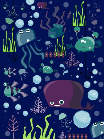 Under the Sea Doodles Vector
