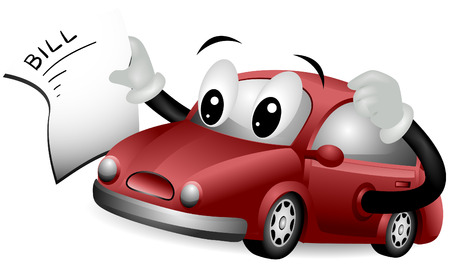 Car Holding Bill with clipping path Vector