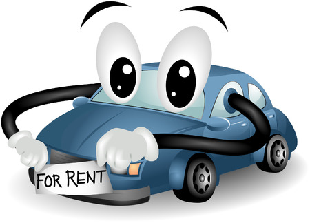for rent: Car for Rent with clipping path