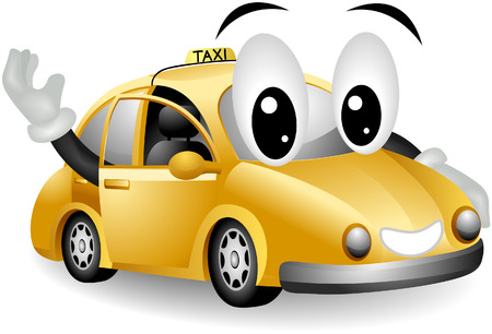commute: Taxi with clipping path